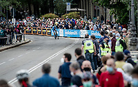 crowds filling the streets of Torino (even) in pandemic times with Márton Dina (HUN/EOLO-Kometa) riding by<br /> <br /> 104th Giro d'Italia 2021 (2.UWT)<br /> Stage 1 (ITT) from Turin to Turin (8.6 km)<br /> <br /> ©kramon