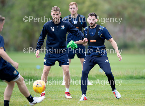 St Johnstone Training….09.08.18<br />Drey Wright and David Wotherspoon pictured during training at McDiarmid Park ahead of Sunday's game against Hibs<br />Picture by Graeme Hart.<br />Copyright Perthshire Picture Agency<br />Tel: 01738 623350  Mobile: 07990 594431