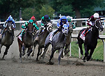 August 28, 2021: Midnight Bourbon #1, ridden by jockey Ricardo Santana Jr. leads the field at the top of the stretch for the Grade 1 Travers Stakes at Saratoga Race Course in Saratoga Springs, N.Y. on August 28th, 2021. Dan Heary/Eclipse Sportswire/CSM