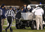 Nevada's Jeremy Macauley (72) is carted off the field after a play against San Jose State during the second half of an NCAA college football game in Reno, Nev., on Saturday, Nov. 16, 2013.<br /> (AP Photo/ Cathleen Allison).