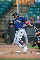 Mississippi Braves Cristian Pache (16) at bat during a Southern League game against the Jackson Generals on July 23, 2019 at The Ballpark at Jackson in Jackson, Tennessee.  Mississippi defeated Jackson 1-0 in the second game of a doubleheader.  (Mike Janes/Four Seam Images)