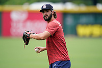 First baseman Brett Langhorne (23) of the Rome Braves before a game against the Greenville Drive on Tuesday, August 3, 2021, at Fluor Field at the West End in Greenville, South Carolina. (Tom Priddy/Four Seam Images)