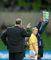 MELBOURNE, AUSTRALIA - NOVEMBER 18: Graham Arnold of the Mariners gives instructions during the round 14 A-League match between the Melbourne Victory and Central Coast Mariners at AAMI Park on November 18, 2010 in Melbourne, Australia (Photo by Sydney Low / Asterisk Images)