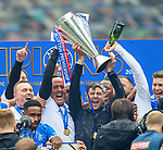 15.05.2021 Rangers v Aberdeen: Steven Gerrard with Premiership trophy and soaked in champagne