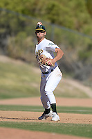 Oakland Athletics third baseman Chad Pinder (12) during an Instructional League game against the Chicago Cubs on October 16, 2013 at Papago Park Baseball Complex in Phoenix, Arizona.  (Mike Janes/Four Seam Images)
