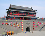 Ancient city wall and gate in the city of Xian, China.