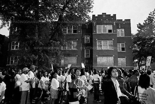 Chicago, Illinois USA<br />  June  2011<br /> <br /> Members of St. Sabina Church and other churches in Chicago take part of  in march to  protest the violence that usually takes place in the summer months in Chicago. This was the last day of class for Chicago Public School students.  St. Sabina Church  wanted to set a standard of non-violence throughout the community.