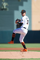 Salt River Rafters starting pitcher Jordan Yamamoto (20), of the Miami Marlins organization, delivers a pitch during an Arizona Fall League game against the Surprise Saguaros at Salt River Fields at Talking Stick on November 5, 2018 in Scottsdale, Arizona. Salt River defeated Surprise 4-3 . (Zachary Lucy/Four Seam Images)