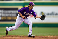 LSU Tigers shortstop Austin Nola #36 on defense during the NCAA Super Regional baseball game against Stony Brook on June 9, 2012 at Alex Box Stadium in Baton Rouge, Louisiana. Stony Brook defeated LSU 3-1. (Andrew Woolley/Four Seam Images)