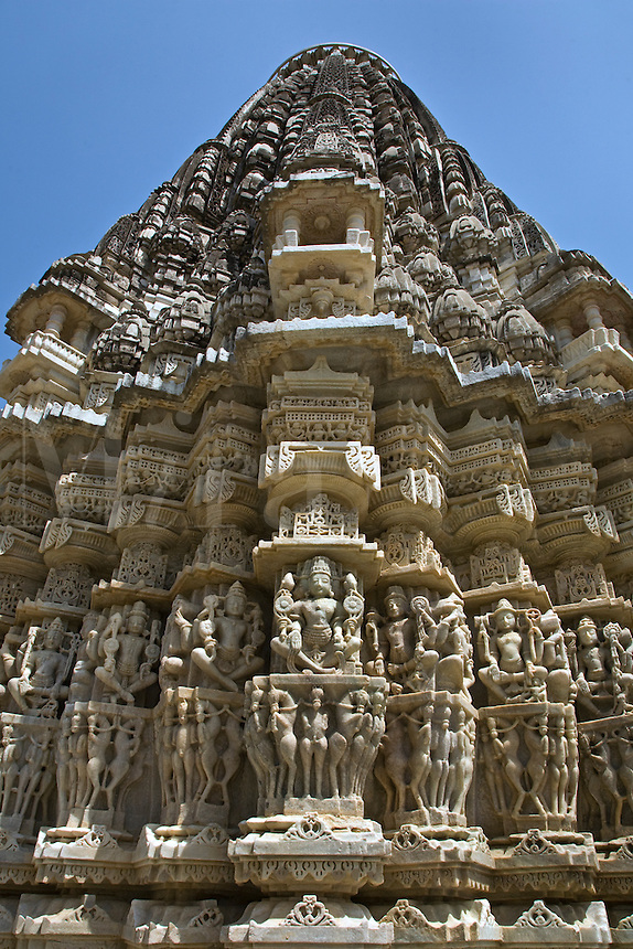The AMBA MATA JAIN TEMPLE at RANAKPUR is carved out of white marble in the Pali District of RAJASTHAN near Sadri - INDIA