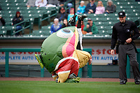 Mike Rainbow Trout performs during a Rochester Red Wings International League game against the Charlotte Knights on June 16, 2019 at Frontier Field in Rochester, New York.  Rochester defeated Charlotte 11-5 in the first game of a doubleheader that was a continuation of a game postponed the day prior due to inclement weather.  (Mike Janes/Four Seam Images)