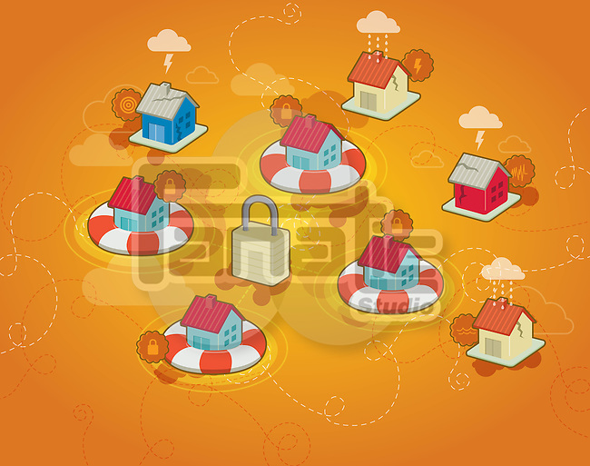 Illustration of little houses on buoy with padlock in centre depicting concept of home insurance