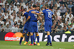 Juventus´s players celebrate Alvaro Morata´s goal (1-1) during the Champions League semi final soccer match between Real Madrid and Juventus at Santiago Bernabeu stadium in Madrid, Spain. May 13, 2015. (ALTERPHOTOS/Victor Blanco)