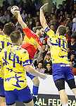 Spain's Raul Entrerrios (l) and Bosnia Herzegovina's Marko Panic during 2018 Men's European Championship Qualification 2 match. November 2,2016. (ALTERPHOTOS/Acero)