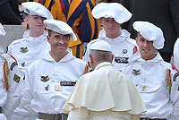 Pope Francis during of a weekly general audience at St Peter's square in Vatican.April 18, 2018