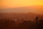View of the Hollywood area in Los Angeles at sunset.
