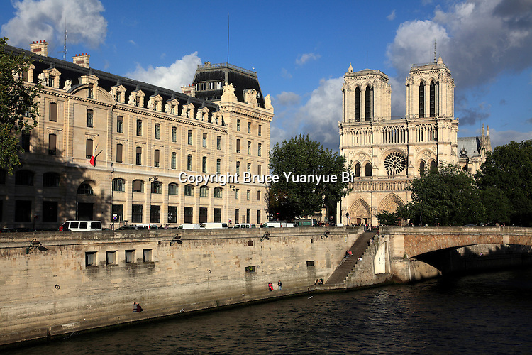River Seine with Norte Dame Cathedral in background. city of Paris. Paris. France