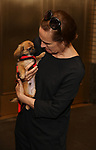 Laurie Metcalf, with a dog from The Humane Society of New York, filming a promo for the Broadway Barks 2019 Announcement at Shubert Alley on June 20, 2019 in New York City.