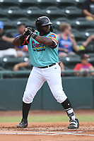 Tyreque Reed (37) of Las Llamas de Hickory at bat during a game against Los Rapidos de Kannapolis at L.P. Frans Stadium on July 17, 2019 in Hickory, North Carolina. The Llamas defeated the Rapidos 7-5. (Tracy Proffitt/Four Seam Images)