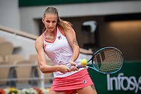 29th September 2020, Roland Garros, Paris, France; French Open tennis, Roland Garros 2020;  Karolina PLISKOVA CZE plays a backhand during her match against Mayar SHERIF EGY in the Philippe Chatrier court on the first round of the French Open
