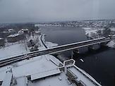 Die Brücke zwischen Estland und Russland verbindet die estnische Stadt Narva und seiner russischen Zwillingsstadt Iwangorod.