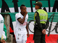 MANIZALES -COLOMBIA, 27-07-2014. Jose Izquierdo de Once Caldas celebra un gol anotado a Patriotas FC durante partido por la fecha 2 de la Liga Postobón I 2014 jugado en el estadio Palogrande de la ciudad de Manizales./ Once Caldas player Jose Izquierdo celebrates a goal scored to Patriotas FC during match for the second date of the Postobon  League II 2014 at Palogrande stadium in Manizales city. Photo: VizzorImage/Santiago Osorio/STR