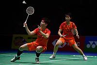 13th March 2020, Arena Birmingham, Birmingham, UK; China s Du Yue R and Li Yinhui compete during for womens doubles quarterfinal match with Japan s Mayu Matsumoto/Wakana Nagahara at All England Badminton 2020 in Birmingham