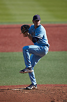 Old Dominion Monarchs starting pitcher Nick Pantos (32) in action against the Charlotte 49ers at Hayes Stadium on April 25, 2021 in Charlotte, North Carolina. (Brian Westerholt/Four Seam Images)