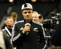 Dan Carter of New Zealand gives a speech after being presented his 100th cap after the QBE Autumn International match between England and New Zealand at Twickenham on Saturday 16th November 2013 (Photo by Rob Munro)