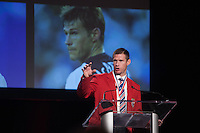 San Francisco, CA - Saturday Feb. 14, 2015: US Soccer player Brian McBride speaks after being inducted into the Hall of Fame at the 2014 US Soccer Hall of Fame Induction ceremony.
