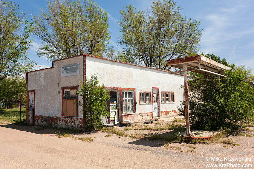 Abandoned gas station in Ovid, CO