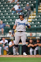 Tampa Tarpons Jasson Dominguez (20) bats during Game One of the Low-A Southeast Championship Series against the Bradenton Marauders on September 21, 2021 at LECOM Park in Bradenton, Florida.  (Mike Janes/Four Seam Images)