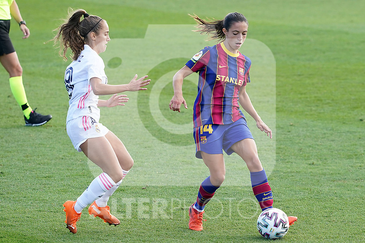 First official match and first classic in the history of women's Real Madrid.<br /> Real Madrid's Maite Oroz (l) and FC Barcelona's Aitana Bonmati during Spanish Female League match. October 4,2020. (ALTERPHOTOS/Acero)