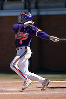 J.D. Burgess (1) of the Clemson Tigers follows through on his swing versus the Wake Forest Demon Deacons during the second game of a double header at Gene Hooks Stadium in Winston-Salem, NC, Sunday, March 9, 2008.