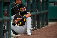 Pittsburgh Pirates Daniel Rivero (74) in the dugout during a Florida Instructional League game against the Detroit Tigers on October 16, 2020 at Joker Marchant Stadium in Lakeland, Florida.  (Mike Janes/Four Seam Images)
