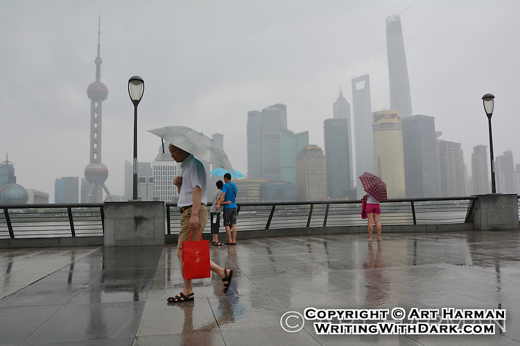 Early morning on the Strand in Shanghai--in a light rain.