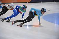 SPEEDSKATING: DORDRECHT: 07-03-2021, ISU World Short Track Speedskating Championships, QF 1000m Men, Stijn Desmet (BEL), Luca Spechenhauser (ITA), ©photo Martin de Jong