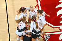 Stanford, CA - Sunday, October 11, 2015: Stanford beats Oregon 25-27, 25-23, 25-10, 25-16 at Maples Pavilion.