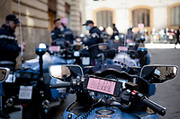 police pre roll-outat the race start in Siena<br /> <br /> 104th Giro d'Italia 2021 (2.UWT)<br /> Stage 12 from Siena to Bagno di Romagna (212km)<br /> <br /> ©kramon