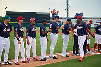 Clearwater Threshers Jose Taveras fist bumps teammates during introductions before the Florida State League All-Star Game on June 17, 2017 at Joker Marchant Stadium in Lakeland, Florida.  FSL North All-Stars defeated the FSL South All-Stars  5-2.  (Mike Janes/Four Seam Images)
