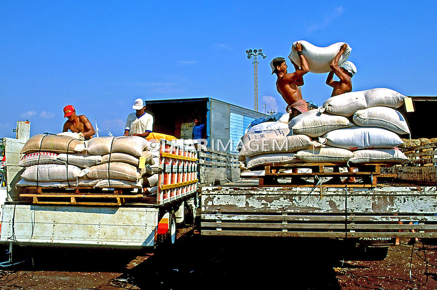 Transporte de carga no Porto de Manaus. Amazonas. 1999. Foto de Juca Martins.