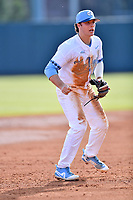 North Carolina Tar Heels third baseman Kyle Datres (3) during a game against the Pittsburgh Panthers at Boshamer Stadium on March 17, 2018 in Chapel Hill, North Carolina. The Tar Heels defeated the Panthers 4-0. (Tony Farlow/Four Seam Images)