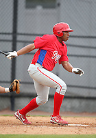 March 25, 2010:  First Baseman Jonathan Singleton of the Philadelphia Phillies organization during a Spring Training game at the Carpenter Complex in Clearwater, FL.  Photo By Mike Janes/Four Seam Images