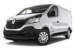 Stock pictures of low aggressive front three quarter view of a 2015 Renault Trafic Fourgon Extra L1H1 dCi 120 TT S&S 2.7T 4 Door Cargo Van 2WD Low Aggressive