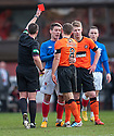 Gers Ian Black gets sent off after receiving a second yellow.