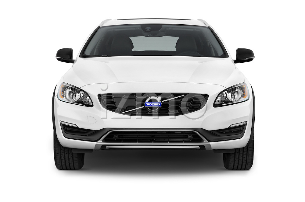 Car photography straight front view of a 2015 Volvo V60 T5 Cross Country AWD 4 Door Wagon Front View