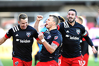 WASHINGTON, DC - MARCH 07: Frederic Brilliant #13 of D.C. United celebrates his score with teammate Steven Birnbaum #15 and Russell Canouse #4 during a game between Inter Miami CF and D.C. United at Audi Field on March 07, 2020 in Washington, DC.