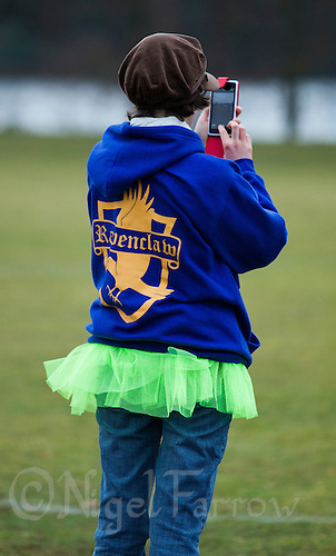 08 MAR 2015 - NOTTINGHAM, GBR - A competitor wears a hoodie emblazoned with the logo of Ravenclaw, one of the Hogwarts' houses in the Harry Potter books, before the start of the second day of the 2015 British Quidditch Cup at Woollaton Hall and Deer Park in Nottingham, Great Britain (PHOTO COPYRIGHT © 2015 NIGEL FARROW, ALL RIGHTS RESERVED)