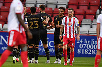 Jay Bird of MK Dons F.C. scores the second Goal and celebratesJay Bird of MK Dons F.C. scores the second Goal and celebrates during Stevenage vs MK Dons, EFL Trophy Football at the Lamex Stadium on 6th October 2020