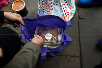 """Completely sealed and eatable food just recently threw in the rubbish... why not distributing it to people in need?<br /> <br /> London, 25/05/2016. This evening, members of the public supported by Zekra, the organiser of """"Happy Ravers"""", walked around Charing Cross/Strand area in Central London for """"distributing and collecting essential items to those who may need them on our streets"""". Cups of tea, coffee and hot soups, sandwiches, handmade cup cakes, water, biscuits and a lot of company, smiles and hugs were donated this evening to some of the homeless people who are living in the London's streets and sleeping rough. <br /> <br /> For more information and to help please click here: https://www.facebook.com/groups/havers/"""